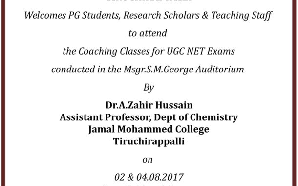 COACHING CLASSES FOR UGC NET EXAM 02&04-08-2017